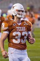 04 November 2006: Texas linebacker Scott Derry warms up before the Longhorns 36-10 victory over the Oklahoma State University Cowboys at Darrel K Royal Memorial Stadium in Austin, Texas.