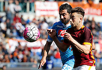 Calcio, Serie A: Roma vs Napoli. Roma, stadio Olimpico, 25 aprile 2016.<br /> Napoli's Raul Albiol, left, and Roma's Stephan El Shaarawy run for the ball during the Italian Serie A football match between Roma and Napoli at Rome's Olympic stadium, 25 April 2016.<br /> UPDATE IMAGES PRESS/Riccardo De Luca