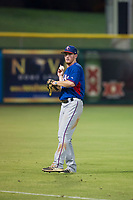 AZL Rangers left fielder Justin Jacobs (54) warms up in the outfield between innings during a game against the AZL Giants on August 22 at Scottsdale Stadium in Scottsdale, Arizona. AZL Rangers defeated the AZL Giants 7-5. (Zachary Lucy/Four Seam Images via AP Images)