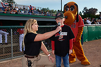 """Batavia Muckdogs """"Play Ball Kid"""" before a NY-Penn League game against the Auburn Doubledays on June 14, 2019 at Dwyer Stadium in Batavia, New York.  Batavia defeated 2-0.  (Mike Janes/Four Seam Images)"""