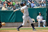 Gary Sanchez (35) of the Trenton Thunder bats during a game against the New Britain Rock Cats at New Britain Stadium on May 7,2014 in New Britain, Connecticut. Trenton defeated New Britain 6-4.  (Gregory Vasil/Four Seam Images)
