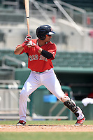 GCL Red Sox third baseman Victor Acosta (23) at bat during a game against the GCL Rays on June 25, 2014 at JetBlue Park at Fenway South in Fort Myers, Florida.  GCL Red Sox defeated the GCL Rays 7-0.  (Mike Janes/Four Seam Images)