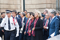September 15 2017, PARIS FRANCE Delegation of Paris 2024 welcomed<br /> by the French President Emmanuel MACRON at the Elysee Palace.<br /> Members of Delegation are Anne HIDALGO<br /> Major of Paris, Valerie Pecresse President<br /> of Regional Council, Tony Estanguet<br /> champion canoe