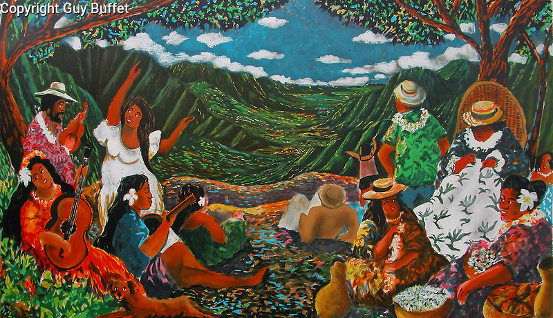 """""""Hawaiian Serenade""""<br /> Limited Edition Lithograph on Paper 21x37<br /> SN $900.<br /> SN w/Original Watercolor Remarque $1,400.<br /> A Truly Classic Guy Buffet Hawaiian Piece!"""