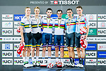 Morgan Kneisky and Benjamin Thomas of France celebrate winning in the Men's Madison 50 km Final's prize ceremony with  Cameron Meyer and Callum Scotson (l) of Australia and Moreno De Pauw and Kenny De Ketele (r) of Belgium during the 2017 UCI Track Cycling World Championships on 16 April 2017, in Hong Kong Velodrome, Hong Kong, China. Photo by Marcio Rodrigo Machado / Power Sport Images