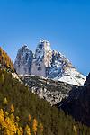 Italy, South Tyrol (Trentino-Alto Adige), near Dobbiaco: Three Peaks View in the Val di Landro valley | Italien, Suedtirol (Trentino-Alto Adige), bei Toblach: Drei Zinnen Blick von Landro im Hoehlensteintal