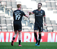 Lincoln City's Callum Morton, left, celebrates the victory with Adam Jackson<br /> <br /> Photographer Chris Vaughan/CameraSport<br /> <br /> The EFL Sky Bet League One - Milton Keynes Dons v Lincoln City - Saturday 19th September 2020 - Stadium MK - Milton Keynes<br /> <br /> World Copyright © 2020 CameraSport. All rights reserved. 43 Linden Ave. Countesthorpe. Leicester. England. LE8 5PG - Tel: +44 (0) 116 277 4147 - admin@camerasport.com - www.camerasport.com