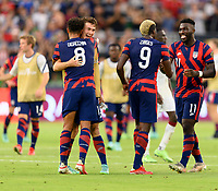 AUSTIN, TX - JULY 29: Nicholas Gioacchini #8, Matthew Hoppe #13, Gyasi Zardes #9, and Daryl Dike #11 of the United States celebrates their win after a game between Qatar and USMNT at Q2 Stadium on July 29, 2021 in Austin, Texas.