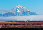 Mount Moran, Morning Fog over Willow Flats, Grand Teton National Park, Wyoming