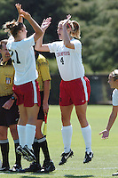 3 September 2006: Stanford Cardinal Hillary Heath (21) and Allison Falk (4) during Stanford's 2-0 win against Cal Poly Mustangs at Maloney Field in Stanford, CA.