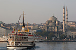 Yeni Camii Mosque, Ottoman Architecture, Ferries, Eminonu ferry dock, Golden Horn, Istanbul, Turkey,