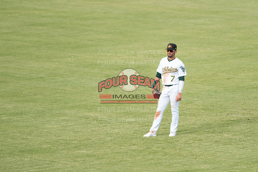 Mesa Solar Sox right fielder Luis Barrera (7), of the Oakland Athletics organization, during an Arizona Fall League game against the Peoria Javelinas at Sloan Park on October 11, 2018 in Mesa, Arizona. Mesa defeated Peoria 10-9. (Zachary Lucy/Four Seam Images)