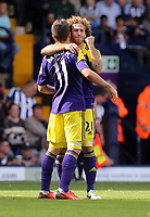 Sunday 01 September 2013<br /> Pictured L-R: Pablo Hernandez of Swansea celebrating his goal with team mate Jose Canas.<br /> Re: Barclay's Premier League, West Bromwich Albion v Swansea City FC at The Hawthorns, Birmingham, UK.