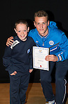 St Johnstone FC Academy Awards Night...06.04.15  Perth Concert Hall<br /> Ally Gilchrist presents a certificate to Kyle Burns<br /> Picture by Graeme Hart.<br /> Copyright Perthshire Picture Agency<br /> Tel: 01738 623350  Mobile: 07990 594431