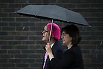 © Joel Goodman - 07973 332324 . 10/06/2016 . Manchester , UK . Comedian EDDIE IZZARD and Manchester Central MP LUCY POWELL door knocking in Hulme , Manchester , in support of the Remain campaign , ahead of the UK's EU Referendum . Photo credit : Joel Goodman