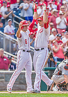 30 August 2015: Washington Nationals first baseman Clint Robinson (right) crosses the plate and celebrates with teammate Danny Espinosa after pinch hitting a two-run homer in the 6th inning against the Miami Marlins at Nationals Park in Washington, DC. The Nationals rallied to defeat the Marlins 7-4 in the third game of their 3-game weekend series. Mandatory Credit: Ed Wolfstein Photo *** RAW (NEF) Image File Available ***