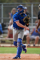 Indiana State Sycamores catcher Grant Magill (5) throws the ball around during the teams opening game of the season against the Pitt Panthers on February 19, 2021 at North Charlotte Regional Park in Port Charlotte, Florida.  (Mike Janes/Four Seam Images)