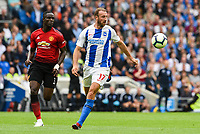 Glenn Murray of Brighton & Hove Albion (17) In action  during the Premier League match between Brighton and Hove Albion and Manchester United at the American Express Community Stadium, Brighton and Hove, England on 19 August 2018. Photo by Edward Thomas / PRiME Media Images.