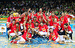 16.09.2011, Arena Zalgirio, Kaunas, LTU, FIBA EuroBasket 2011, Frankreich vs Russland, im Bild Players of Spain celebrate at medal ceremony after the final basketball game between National basketball teams of Spain and France at FIBA Europe Eurobasket Lithuania 2011, on September 18, 2011, in Arena Zalgirio, Kaunas, Lithuania. Spain defeated France 98-85 and became European Champion 2011. EXPA Pictures © 2011, PhotoCredit: EXPA/ Sportida/ Vid Ponikvar  +++++ ATTENTION - OUT OF SLOVENIA/(SLO) +++++