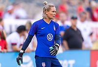 PHILADELPHIA, PA - AUGUST 29: Ashlyn Harris #18 of the United States warms up prior to a game between Portugal and the USWNT at Lincoln Financial Field on August 29, 2019 in Philadelphia, PA.