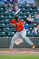 Dexture McCall (27) of the Buies Creek Astros at bat against the Winston-Salem Dash at BB&T Ballpark on April 13, 2017 in Winston-Salem, North Carolina.  The Dash defeated the Astros 7-1.  (Brian Westerholt/Four Seam Images)