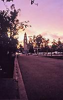 Balboa Park scene at dusk.