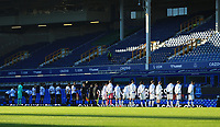 9th January 2021; Goodison Park, Liverpool, Merseyside, England; English FA Cup Football, Everton versus Rotherham United; the Everton and Rotherham players line up before the kick off