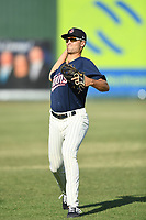 Elizabethton Twins Matt Wallner (48) warms up prior to a game against the Kingsport Mets at Northeast Community Credit Union Ballpark on July 5, 2019 in Elizabethton, Tennessee. The Twins defeated the Mets 7-1. (Tracy Proffitt/Four Seam Images)