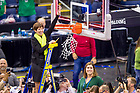 April 1, 2018; Head Women's Basketball Coach Muffet McGraw cuts down a piece of the net following the 2018 Final Four Championship Game. Notre Dame defeated Mississippi State 61-58. (Photo by Matt Cashore/University of Notre Dame)