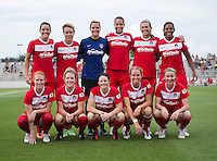 The Washington Spirit lines up before the game at the Maryland SoccerPlex in Boyds, MD. The Washington Spirit tied FC Kansas City, 1-1.