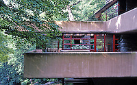 F.L. Wright: Fallingwater. Balcony viewed from approach.  Photo '76.
