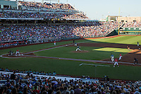 A general view during a College World Series Finals game between the Coastal Carolina Chanticleers and Arizona Wildcats at TD Ameritrade Park on June 28, 2016 in Omaha, Nebraska. (Brace Hemmelgarn/Four Seam Images)