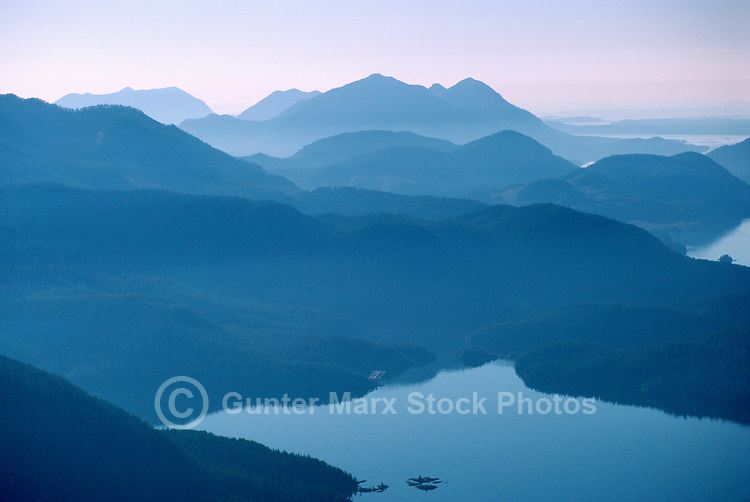 Vancouver Island, BC, British Columbia, Canada - Aerial View of Mountains and Pacific Ocean Coastline along West Coast