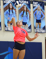 Kat Cooper (10) of Har-ber serves ball on Tuesday, October 12, 2021, during play at Wildcat Arena, Springdale. Visit nwaonline.com/211013Daily/ for today's photo gallery.<br /> (Special to the NWA Democrat-Gazette/David Beach)