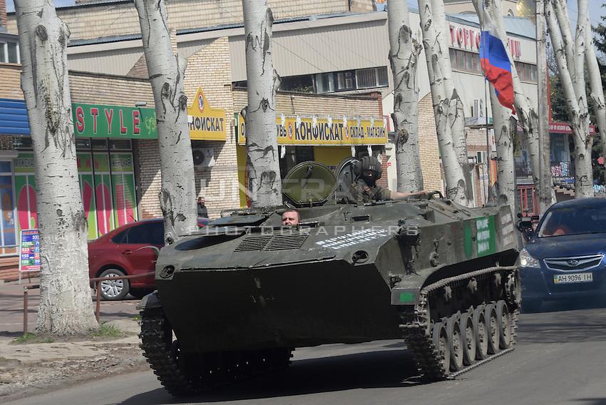 Civil army APC of Donbas seen on the streets of Slavyansk