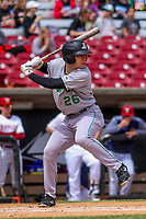 Clinton LumberKings shortstop Johnny Adams (26) at bat during a Midwest League game against the Wisconsin Timber Rattlers on April 26, 2018 at Fox Cities Stadium in Appleton, Wisconsin. Clinton defeated Wisconsin 7-3. (Brad Krause/Four Seam Images)