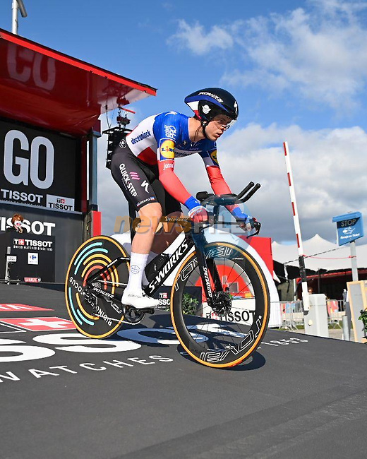 French Champion Remi Cavagna (FRA) Deceuninck-Quick Step powers off the start ramp of Stage 13 of the Vuelta Espana 2020 an individual time trial running 33.7km from Muros to Mirador de Ézaro. Dumbría, Spain. 3rd November 2020. <br /> Picture: Unipublic/BaixauliStudio | Cyclefile<br /> <br /> All photos usage must carry mandatory copyright credit (© Cyclefile | Unipublic/BaixauliStudio)