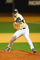 Relief pitcher Daniel Marrs #16 of the Wake Forest Demon Deacons in action against the Northwestern Wildcats at Gene Hooks Field on February 26, 2011 in Winston-Salem, North Carolina.  Photo by Brian Westerholt / Four Seam Images