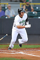 Clinton LumberKings Alex Jackson (35) swings during the Midwest League game against the Beloit Snappers at Ashford University Field on June 11, 2016 in Clinton, Iowa.  The LumberKings won 7-6.  (Dennis Hubbard/Four Seam Images)