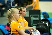 Moskou, Russia, Februari 3, 2016, Fed Cup Russia-Netherlands,  Practise Dutch team,  Cindy Burger and Kiki Bertens (L) <br /> Photo: Tennisimages/Henk Koster