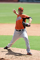 Baltimore Orioles pitcher Brock Huntzinger (85) during an Instructional League game against the Tampa Bay Rays on September 15, 2014 at Ed Smith Stadium in Sarasota, Florida.  (Mike Janes/Four Seam Images)