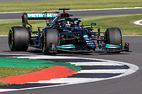 18th July 2021; Silverstone Circuit, Silverstone, Northamptonshire, England; Formula One British Grand Prix, Race Day; Mercedes AMG Petronas F1 Team driver Lewis Hamilton leads the race in his Mercedes F1 W12 Mercedes AMG F1 M12