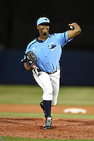 Charlotte Stone Crabs pitcher Bruedlin Suero (28) delivers a pitch during a game against the Palm Beach Cardinals on April 12, 2014 at Charlotte Sports Park in Port Charlotte, Florida.  Palm Beach defeated Charlotte 6-2.  (Mike Janes/Four Seam Images)