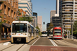 MAX lightrail, bus, and the Portland Streetcar at the Portland Transit Mall.