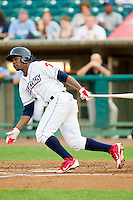 Miguel Alvarez (16) of the Lakewood BlueClaws follows through on his swing against the Kannapolis Intimidators at FirstEnergy Park on August 8, 2012 in Lakewood, New Jersey.  The BlueClaws defeated the Intimidators 5-0.  (Brian Westerholt/Four Seam Images)