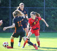 Lotte Keukelaar (11) of the Netherlands and Fien Broeckaert (9) of Belgium in action during an international friendly female soccer game between the national teams of Belgium , called the Red Flames U17 and the Netherlands on Wednesday 8th of September 2020  in Kalmthout , Belgium . PHOTO SPORTPIX.BE | SPP | SEVIL OKTEM