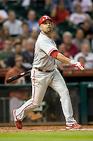 Philadelphia Phillies third baseman Placido Polanco #27 at bat during the Major League Baseball game against the Houston Astros at Minute Maid Park in Houston, Texas on September 13, 2011. Houston defeated Philadelphia 5-2.  (Andrew Woolley/Four Seam Images)
