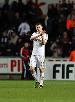 Tuesday 01 January 2013<br /> Pictured: Ben Davies.<br /> Re: Barclays Premier League, Swansea City FC v Aston Villa at the Liberty Stadium, south Wales.