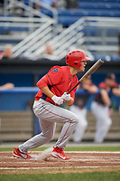 Williamsport Crosscutters designated hitter Adam Haseley (37) follows through on a swing during a game against the Batavia Muckdogs on August 3, 2017 at Dwyer Stadium in Batavia, New York.  Williamsport defeated Batavia 2-1.  (Mike Janes/Four Seam Images)