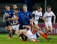 16th November 2020; RDS Arena, Dublin, Leinster, Ireland; Guinness Pro 14 Rugby, Leinster versus Edinburgh; Scott Penny of Leinster offloads the ball as he is tackled by James Johnstone of Edinburgh